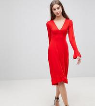 ASOS   Чайное платье миди с оборками ASOS TALL - Красный   Clouty