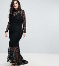Club L   Кружевное платье макси с юбкой годе Club L Plus - Черный   Clouty