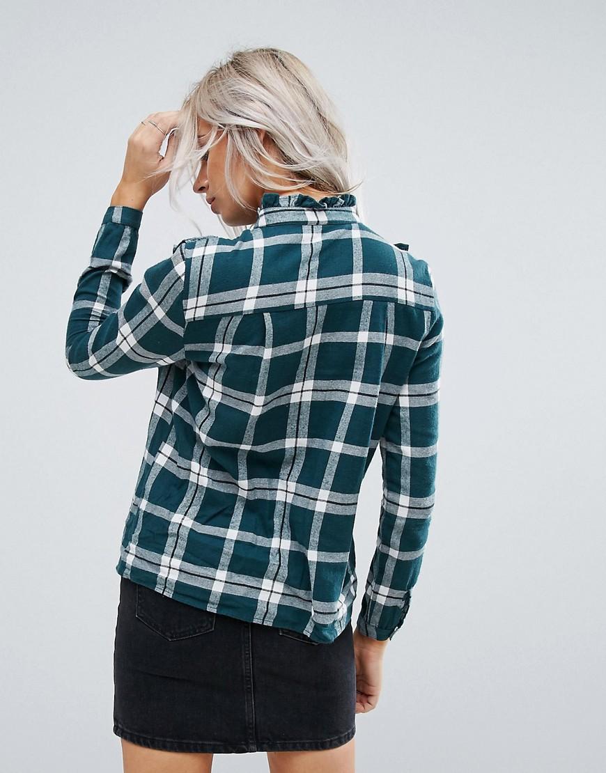 Noisy May | Рубашка в клетку с оборками Noisy May Petite - Зеленый | Clouty