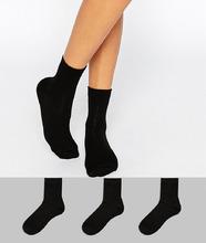 ASOS | 3 пары черных носков ASOS DESIGN - Черный | Clouty