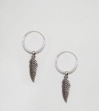 Kingsley Ryan | Серебряные серьги-кольца с листиками Kingsley Ryan - Серебряный | Clouty