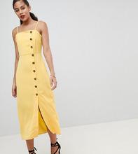 Fashion Union | Сарафан на бретелях с пуговицами Fashion Union Tall - Желтый | Clouty