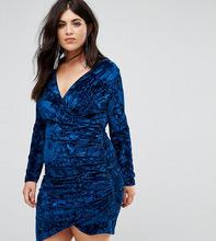 Club L   Бархатное платье мини с запахом Club L Plus - Темно-синий   Clouty