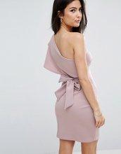 Club L | Платье на одно плечо с оборкой и завязкой на спине Club L - Фиолетовый | Clouty