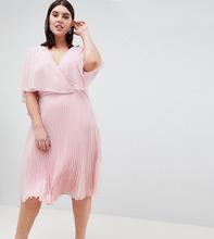 ASOS   Платье миди с плиссировкой и рукавами клеш ASOS DESIGN Curve - Розовый   Clouty