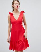 Vila | Платье мини с баской и бантами на плечах Vila - Розовый | Clouty