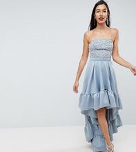 ASOS   Платье миди с асимметричным краем ASOS TALL RED CARPET - Серый   Clouty