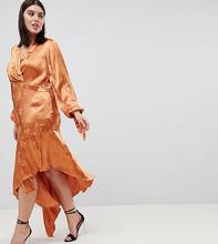 ASOS | Жаккардовое платье миди с цветочной вышивкой и асимметричным краем ASOS DESIGN Curve - Оранжевый | Clouty