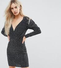 Boohoo | Платье мини цвета металлик с запахом Boohoo Petite - Черный | Clouty