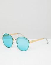 ASOS | Круглые солнцезащитные очки в золотистой оправе с бирюзовыми стеклами | Clouty
