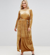 Club L   Платье макси с запахом и поясом Club L Plus - Желтый   Clouty
