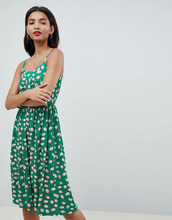 Esprit | Зеленый сарафан миди с принтом Esprit - Зеленый | Clouty