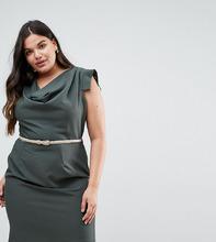 Closet London | Платье-футляр со свободным воротом Closet London Plus - Зеленый | Clouty