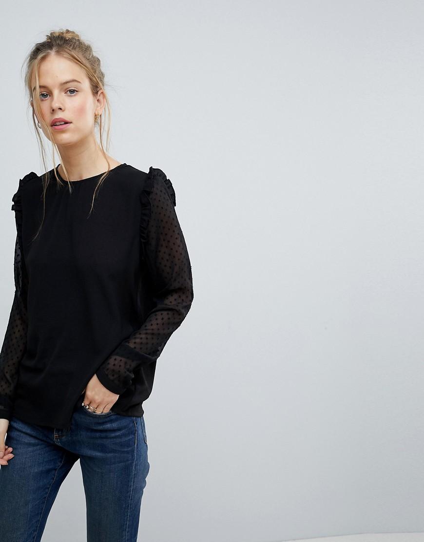 Blend She | Блузка с кружевными рукавами Blend She - Черный | Clouty