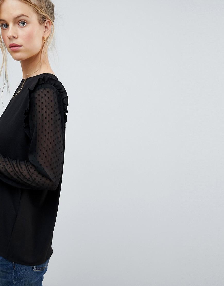 Blend She   Блузка с кружевными рукавами Blend She - Черный   Clouty