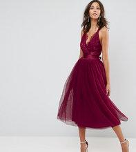 ASOS | Платье миди для выпускного с кружевным лифом и тюлевой отделкой ASOS T | Clouty