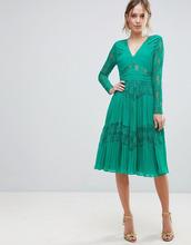 ASOS | Плиссированное платье миди с кружевом ASOS - Зеленый | Clouty