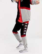 Kappa | Серо-черные бархатные джоггеры с фирменной лентой Kappa - Черный | Clouty