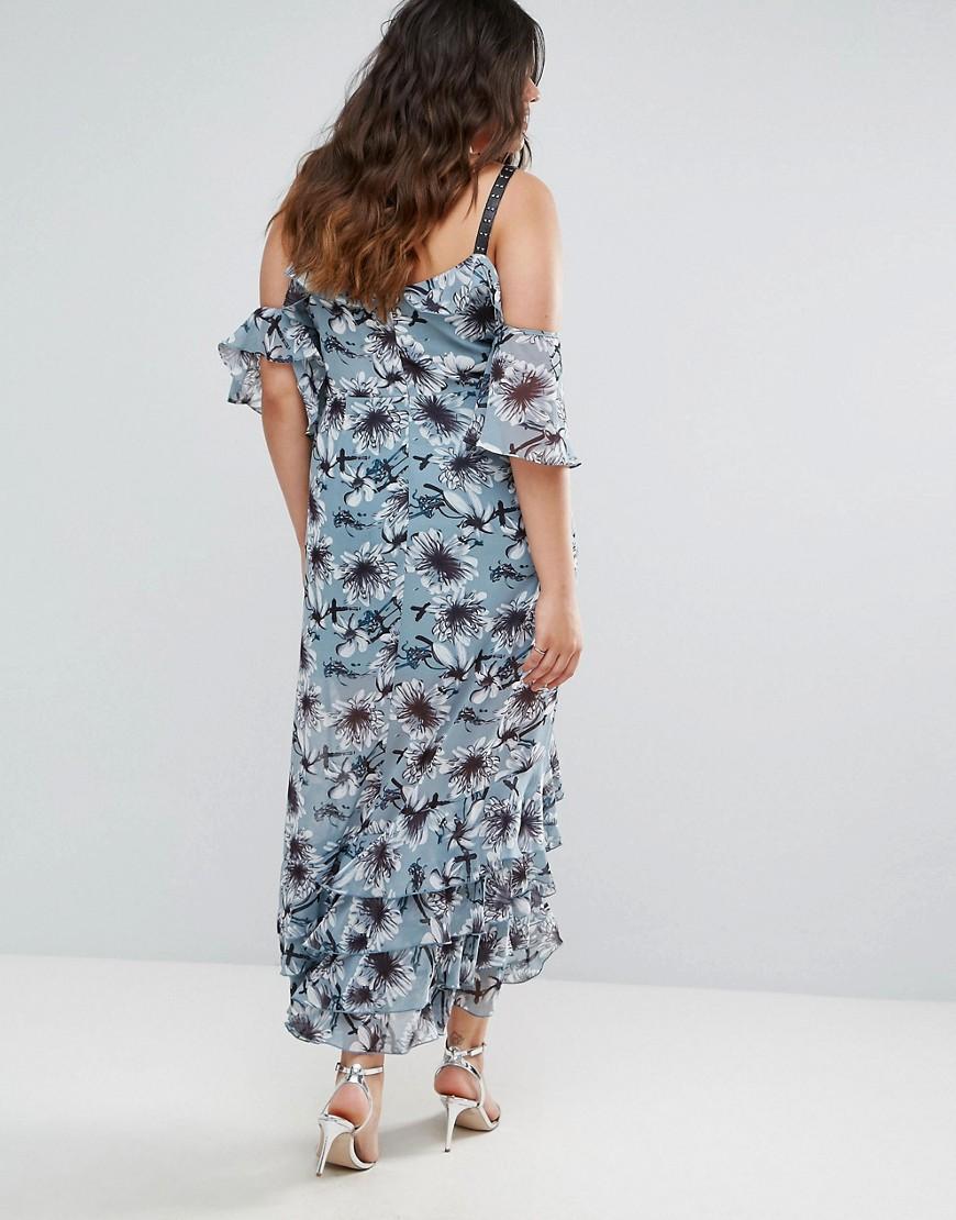 truly you   Платье с открытыми плечами и цветочным принтом Truly You - Мульти   Clouty