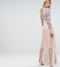 Frock And Frill | Платье макси с цветочной вышивкой Frock And Frill Tall - Розовый | Clouty