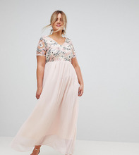 Club L   Платье макси с пайетками на лифе Club L Plus - Розовый   Clouty