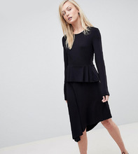 ASOS   Приталенное платье миди с баской ASOS TALL - Черный   Clouty