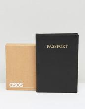 ASOS | Черная кожаная обложка для паспорта в подарочной упаковке ASOS DESIGN - Черный | Clouty