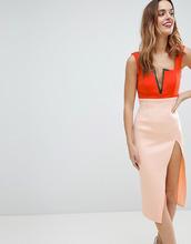 ASOS | Платье миди колор блок с разрезом до бедра ASOS - Оранжевый | Clouty