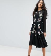 ASOS   Платье миди с вышивкой ASOS TALL PREMIUM - Черный   Clouty