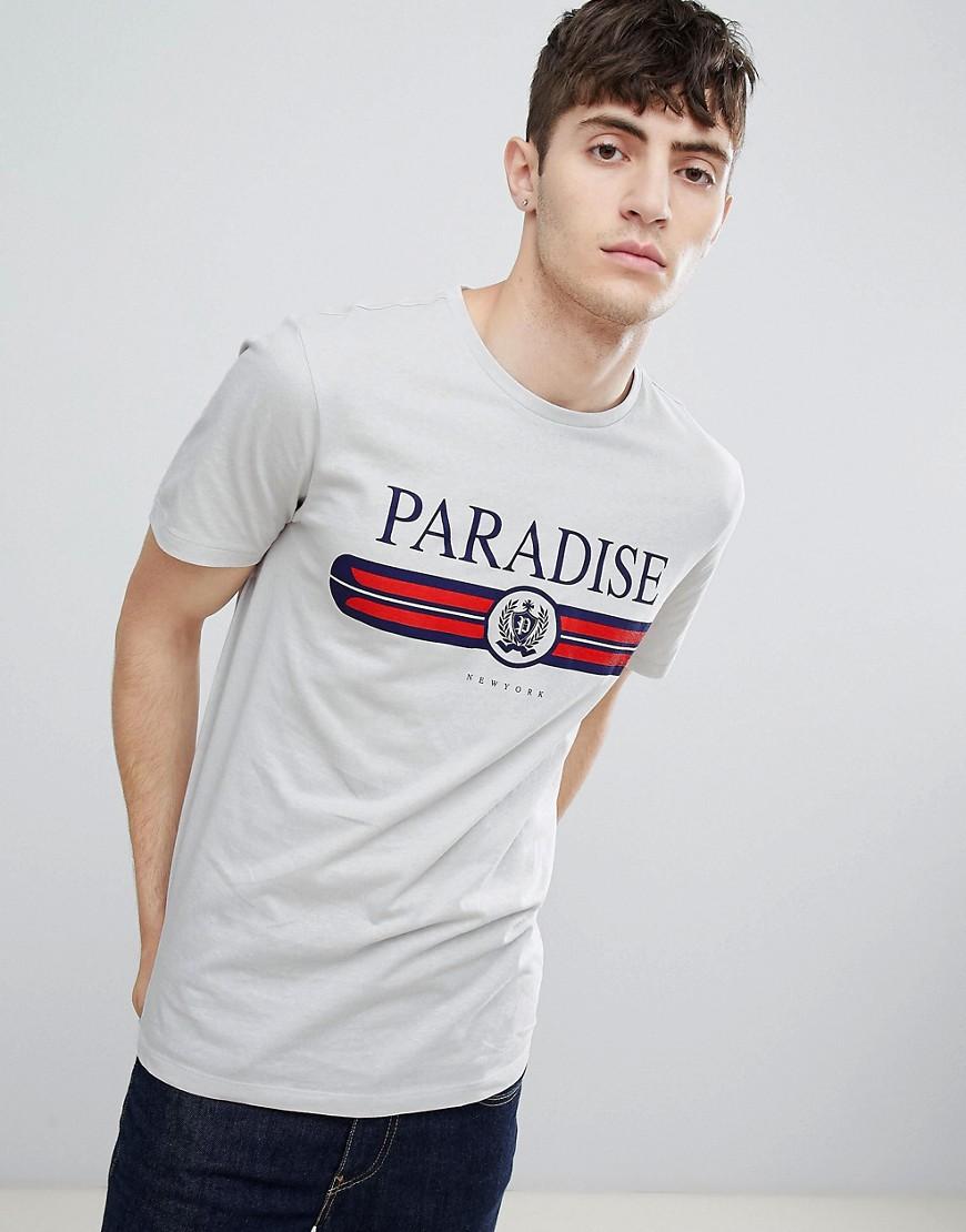 New Look | Светло-серая футболка Paradise New Look - Серый | Clouty