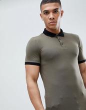 ASOS | Облегающая трикотажная футболка-поло с контрастным воротником и асимме | Clouty