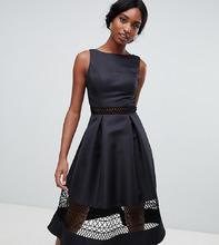 Chi Chi London | Черное структурированное платье миди с кружевными вставками Chi Chi London Tall - Черный | Clouty