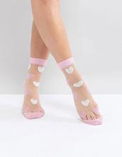 ASOS | Полупрозрачные носки с сердечками ASOS - Розовый | Clouty