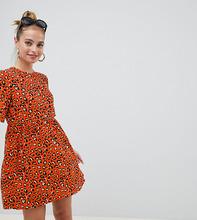 ASOS | Свободное платье мини со звериным принтом ASOS DESIGN Petite - Мульти | Clouty