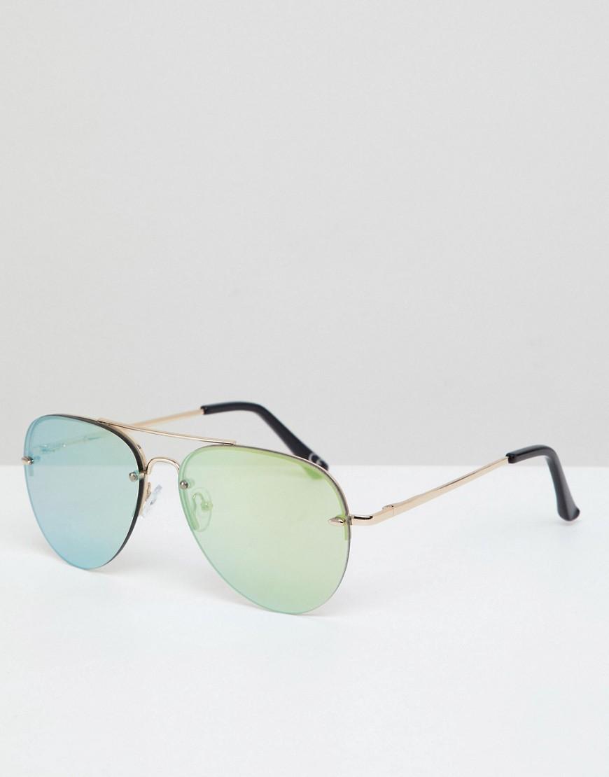 ASOS   Золотой Солнцезащитные очки-авиаторы в золотистой оправе с зелеными  зеркальным   Clouty ... d123b46bff5