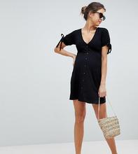 ASOS | Чайное платье мини на пуговицах ASOS DESIGN Maternity - Черный | Clouty