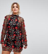 Club L | Платье с высоким воротом и вышитыми красными розами Club L Plus - Мульти | Clouty