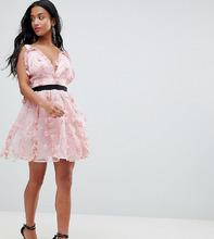 ASOS | Платье мини для выпускного с цветочной аппликацией ASOS DESIGN Petite - Розовый | Clouty