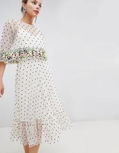 ASOS | Платье миди с цветочной вышивкой на оборках и отделкой бисером ASOS DE | Clouty