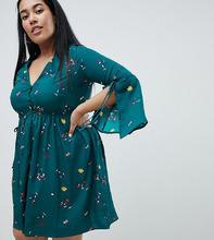 Missguided | Платье с разрезами на рукавах и цветочным узором Missguided Plus - Зеленый | Clouty