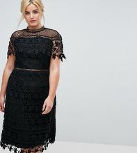 Chi Chi London   Кружевное платье миди с высоким воротником Chi Chi London Plus - Черный   Clouty