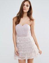 Little Mistress   Кружевное платье-бандо мини для выпускного Little Mistress - Розовый   Clouty