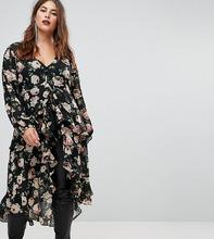 ASOS | Блузка макси с оборками и цветочным принтом ASOS CURVE - Мульти | Clouty