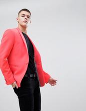 ASOS | Неоново-розовый блейзер супероблегающего кроя ASOS DESIGN - Розовый | Clouty
