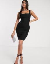 Vesper | Черное платье-футляр с квадратным вырезом Vesper - Черный | Clouty