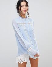 Forever New    Блузка с пышными рукавами на манжетах Forever New - Синий   Clouty