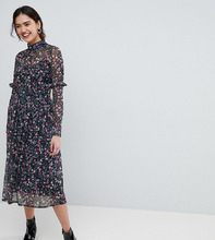 ASOS   Сетчатое платье миди с цветочным принтом и высоким воротом ASOS TALL - Мульти   Clouty
