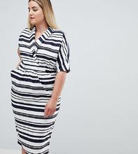 ASOS   Платье миди в полоску с карманами ASOS DESIGN Curve - Мульти   Clouty