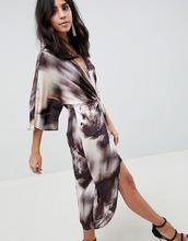 ASOS   Платье миди с рукавами кимоно и абстрактным принтом ASOS DESIGN   Clouty