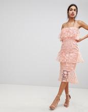 ASOS | Платье-футляр миди с цветочной вышивкой 3D ASOS DESIGN - Розовый | Clouty